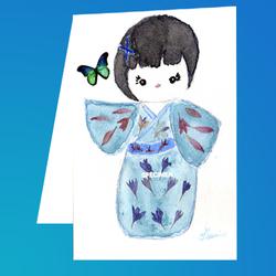 Carte postale : Poupée kokeshi bleue et papillon