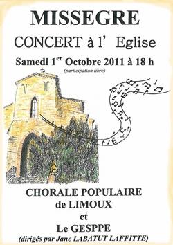 Concert polyphonique à Missegre Gesppe Limoux