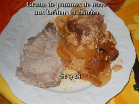 Gratin, pommes de terre, lardons, chorizo