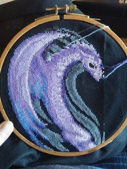 Encours de Adeline sur sa grille dragon