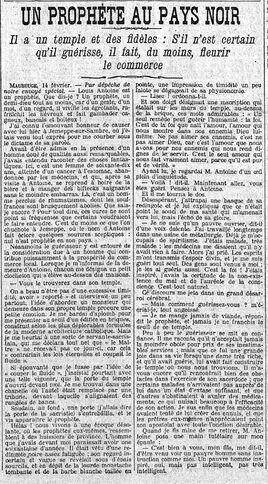 Un prophète au pays noir (Le Matin 15 février 1909)