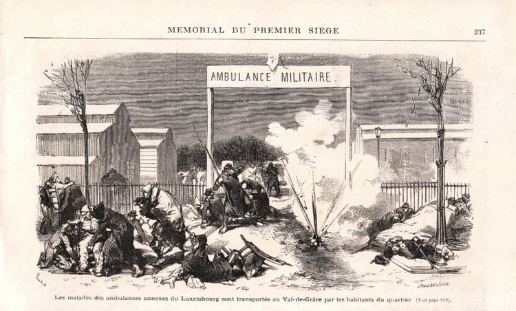 Les malades des ambulances annexes du Luxembourg sont transportés au Val-de-Grâce par les habitants du quartier (gravure sur bois datée 1872)