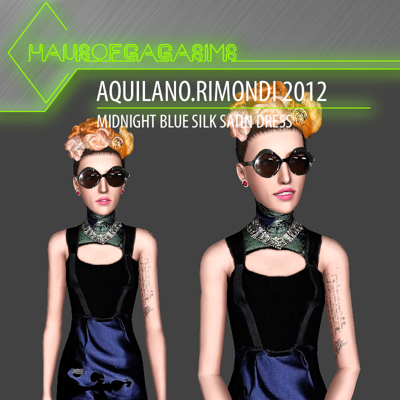 AQUILANO.RIMONDI 2012 MIDNIGHT BLUE SILK SATIN DRESS
