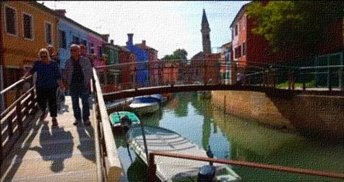 Dessin et peinture - vidéo 2679 : Comment peindre un paysage urbain coloré (ile de Burano : lagune de Venise) ? - aquarelle.