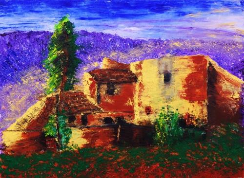 293. Ferme en Luberon. Acrylique sur toile de 0,80 x 0,60. (ocres naturels) Juillet 2012