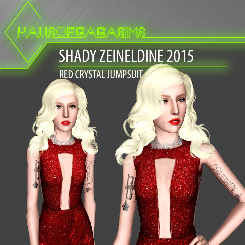 SHADY ZEINELDINE 2015 RED CRYSTAL JUMPSUIT