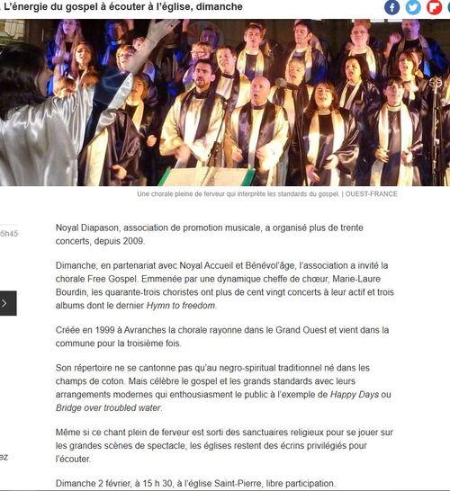 FREE GOSPEL en concert le dimanche 2 février 2020