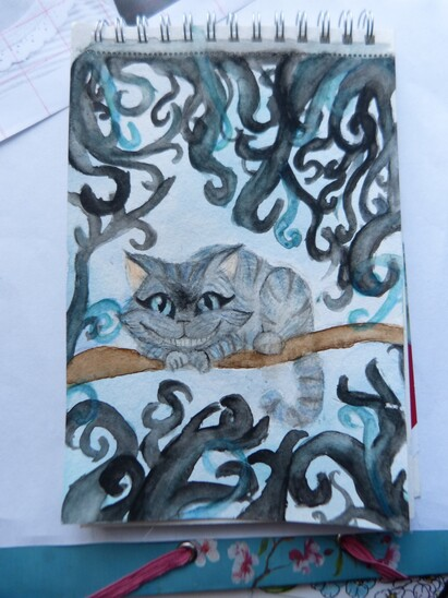 Aquarelle du chat de cheshire