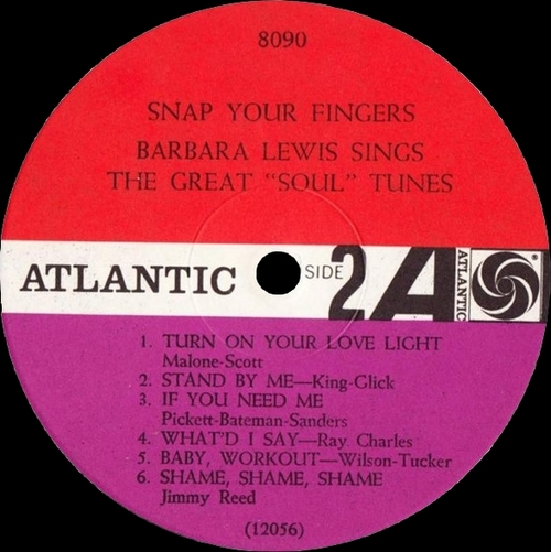 "Barbara Lewis : Album "" Snap Your Fingers [ Sings The Great Soul Tunes ] "" Atlantic Records 8090 [ US ]"