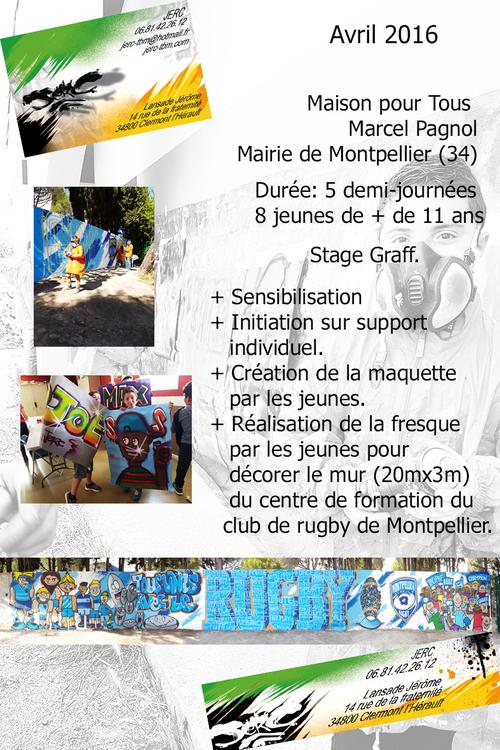 Stage graff , Réalisation d'une fresque par les jeunes des Maisons pour Tous. Montpellier (34) 04/2016 bonne ambiance et production Bravo et merci a Barbu. Les photos http://atelier-graff.blogg.org