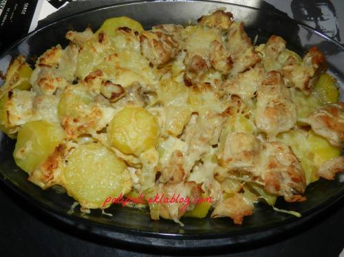 Gratin de pomme de terre au poulet