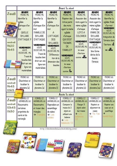 Planning des activités dirigées P5 MS/GS