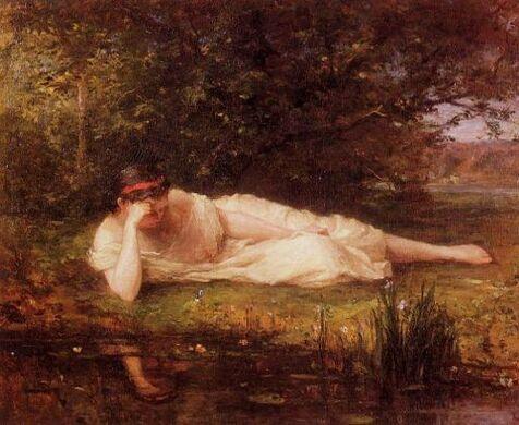 Berthe Morisot, Le bord de l'eau, 1864. Peinture;  Collection de M. et Mme Fred Schoneman Objet: Portrait d'Edma Morisot (soeur de Berthe) couché au bord d'une rivière.  Contenu: Étant la toute première photo que Morisot a peinte, elle choisit sa soeur, ...
