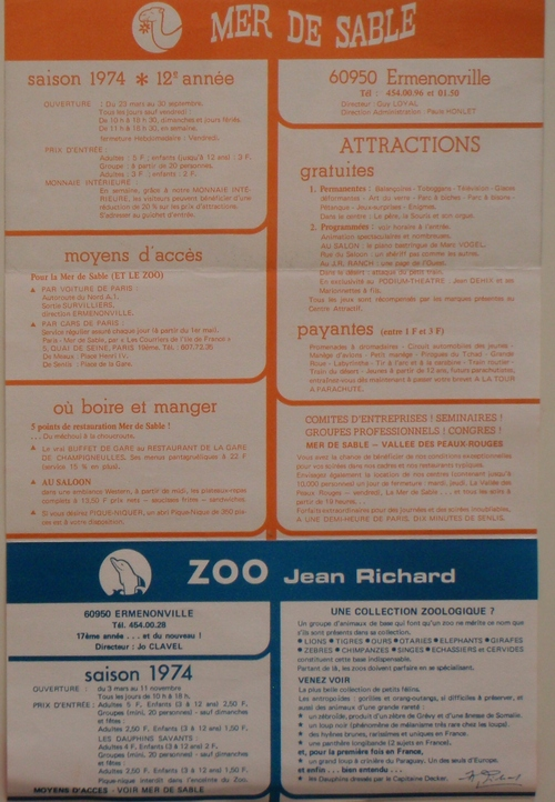 documents promotionnels des centres attractifs Jean Richard en 1974 ( archives Vincent Bouderlique)
