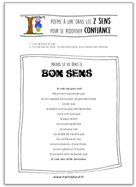 Poème à lire dans les 2 sens pour redonner confiance aux élèves en difficulté