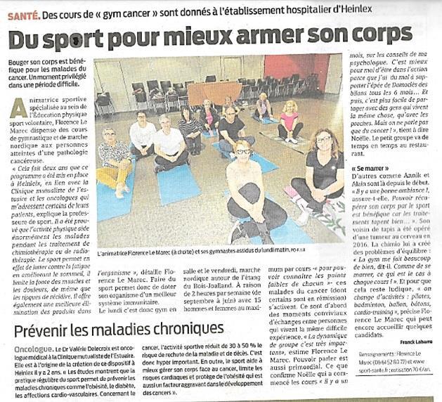La gym après cancer à Saint Nazaire avec Florence Le Marec