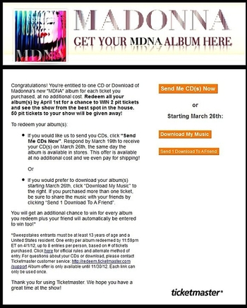 ticketmaster offers PIT Tickets and MDNA Album