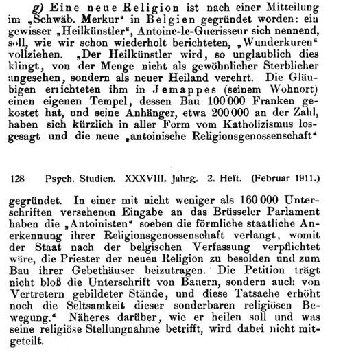 Kurze Notizen - Eine neue Religion (Psychische Studien, v38, Februar 1911)