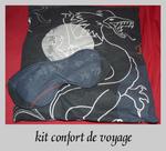 kit confort de voyage: mini oreiller et son masque de sommeil assorti pour le train, l'avion...