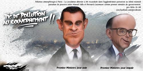 dessin de JERC jeudi 08 décembre 2016 caricature Manuel Valls, Bernard Cazeneuve Un pic de pollution, Manuel Valls se présente à la candidature. www.facebook.com/jercdessin