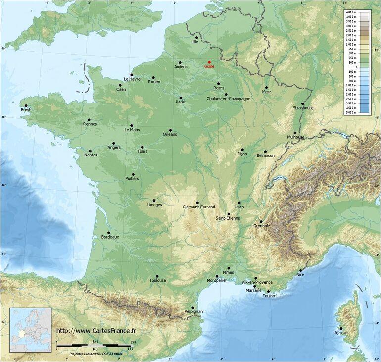Carte du relief de Guise