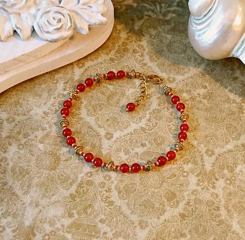 Bracelet pierre de cornaline rouge 4mm / acier doré - Red carnelian golden steel bracelet