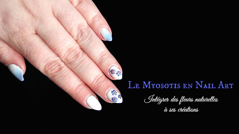 Nail art - fleurs séchées - myosotis
