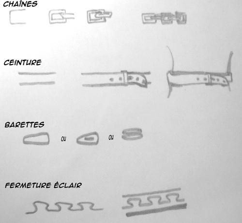 dessiner accessoirs ceinture barettes fermeture éclair