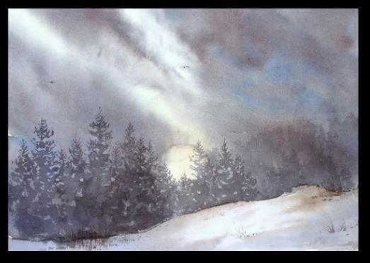 Dessin et peinture - vidéo 1908 : Nuages de montagne dans un paysage enneigé.- aquarelle sur papier.