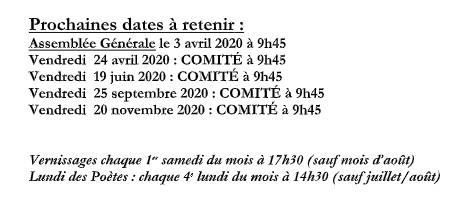 Dates Comité 2020