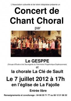 Concert Samedi 7 juillet 2012 La Fajolle