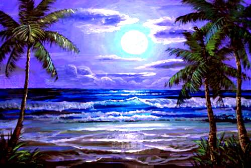 Dessin et peinture - vidéo 2130 : Comment peindre le reflet de la lune sur une plage tropicale ? - Huile et acrylique.