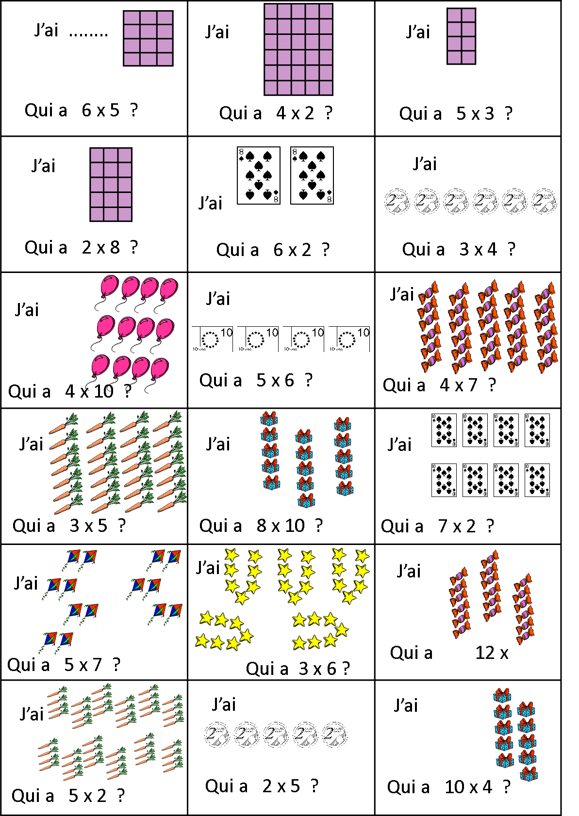 Comprendre la multiplication cole de bizanet aude - Exercice sur la table de multiplication ...