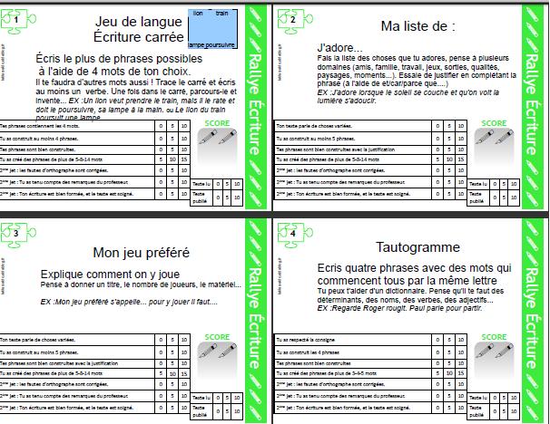 Rallye écriture pdf