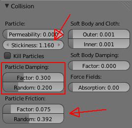 Ajuster les paramètres dans le panneau Collision