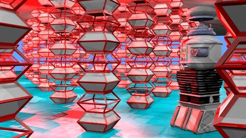 Une scène utilisant le cube par défaut légèrement modifié
