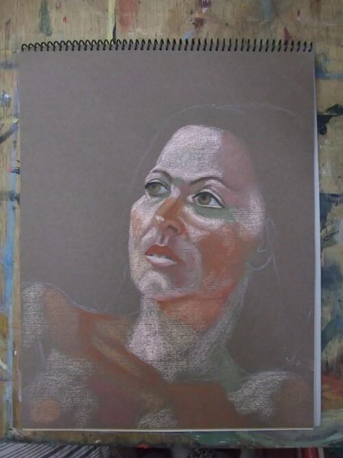 Portrait au pastel, 1ère séance
