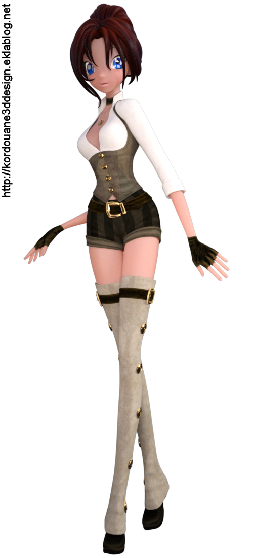 Tube de fille Steampunk Toon (render)
