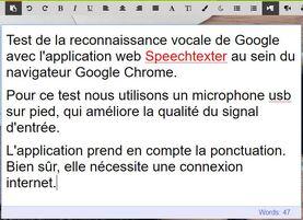SpeechTexter : Dictée vocale en ligne dans un éditeur de texte sous Google Chrome