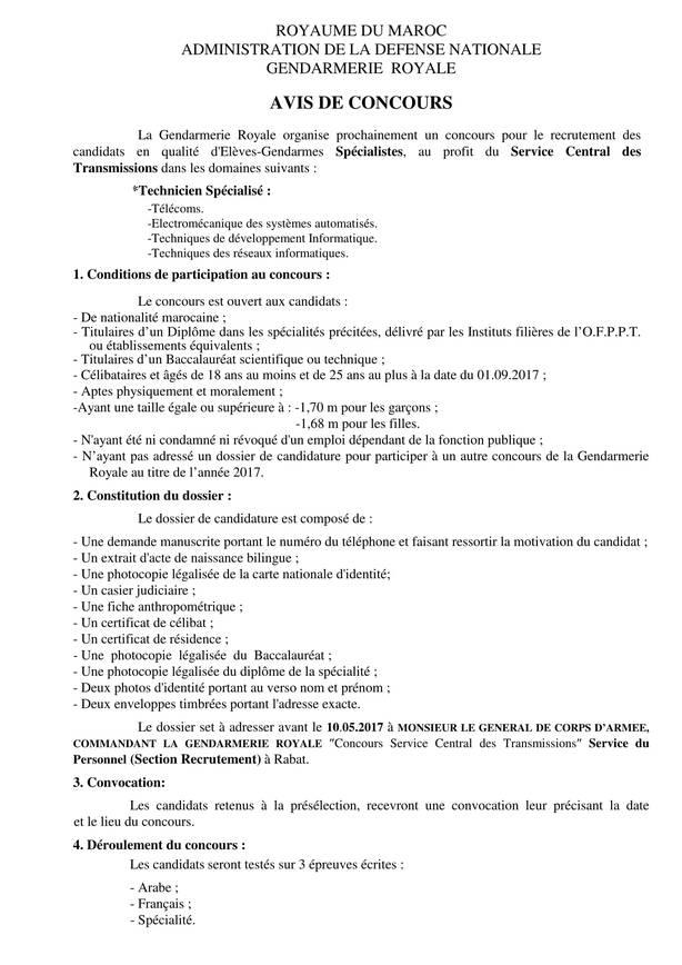 AVIS DE CONCOURS Gendarmerie Royale - Service Central des Transmissions