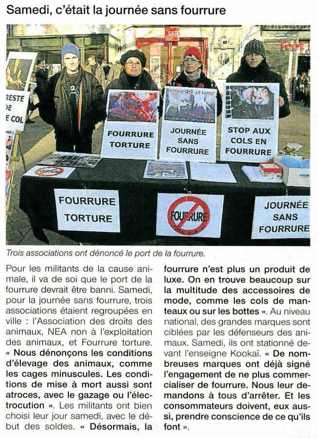 Ouest France - Journée sans fourrure Nantes