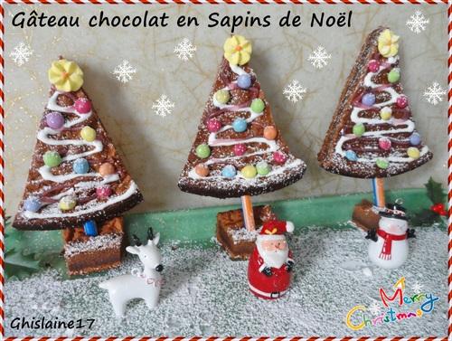 Gâteau chocolat en Sapins de Noël