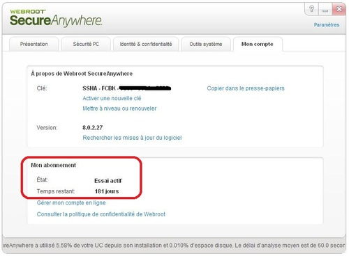 Webroot SecureAnywhere - Licence 6 mois gratuits