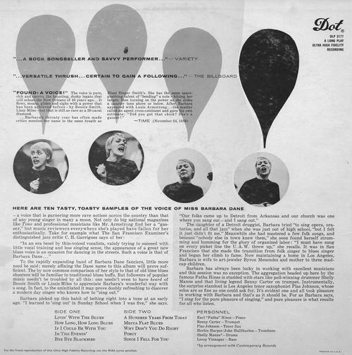 "Barbara Dane : Album "" Livin' With The Blues "" Dot Records DLP-3177 [ US ]"