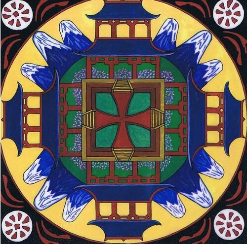 Mandalas de l'Asie avec Hui de Chine et le Dragon Lung Wei, Shrivatsa de l'Inde et Daïta du Japon