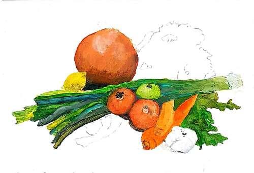 Légumes et papillon, pas à pas