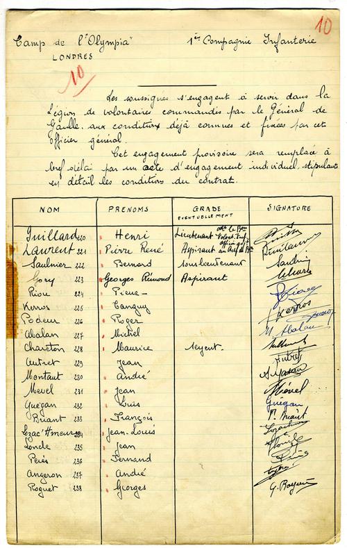 Formulaire d'engagement des premiers Français Libres, 1940