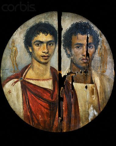 .The portraits were attached to burial mummies at the face, from which almost all have now been detached. They usually depict a single person, showing the head, or head and upper chest, viewed frontally. The background is always monochrome, sometimes with decorative elements. In terms of artistic tradition, the images clearly derive more from Graeco-Roman traditions than Egyptian ones.