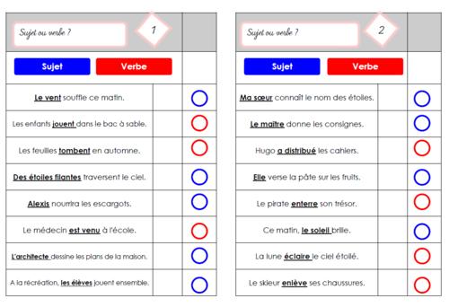 Cartes multi-choix Sujet ou verbe?
