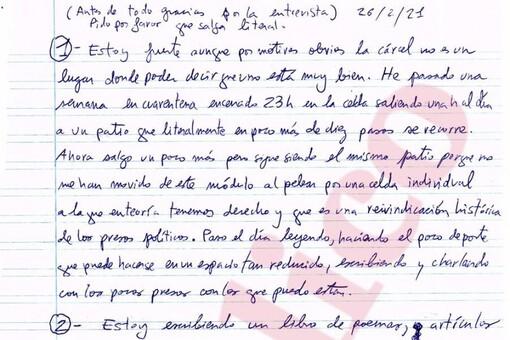 Cuartilla con las respuestas enviadas por Pablo Hasél desde prisión.